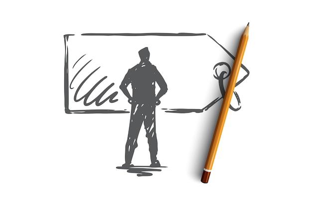 Prijs, verkoop, label, korting, labelconcept. hand getekende man en prijs label concept schets. Premium Vector