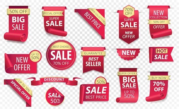 Prijskaartjes, rode lintbanners. verkooppromotie, websitestickers, nieuwe aanbieding badge-collectie geïsoleerd. . Premium Vector