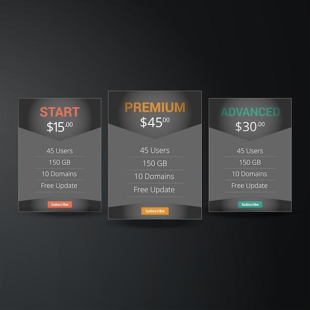 Prijslijst, hosting plannen en webdozen banners design. drie tarieven. interface voor de site. ui ux vector banner voor web app. Premium Vector