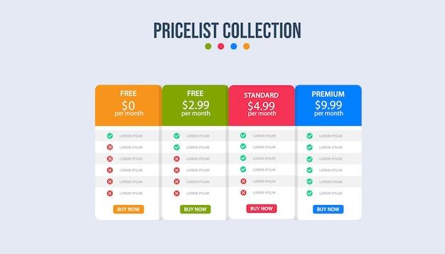 Prijsplan banners infographic sjabloon Premium Vector