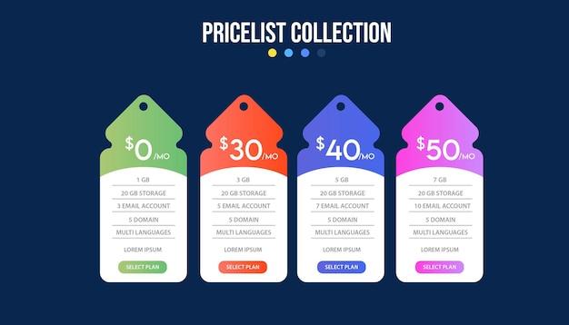 Prijsplan banners infographic sjabloon. Premium Vector