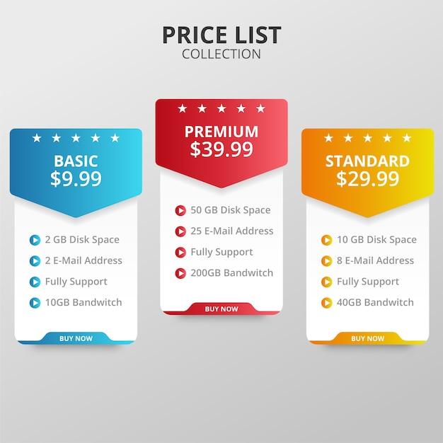 Prijsplannen en tabellen voor web en applicaties Premium Vector