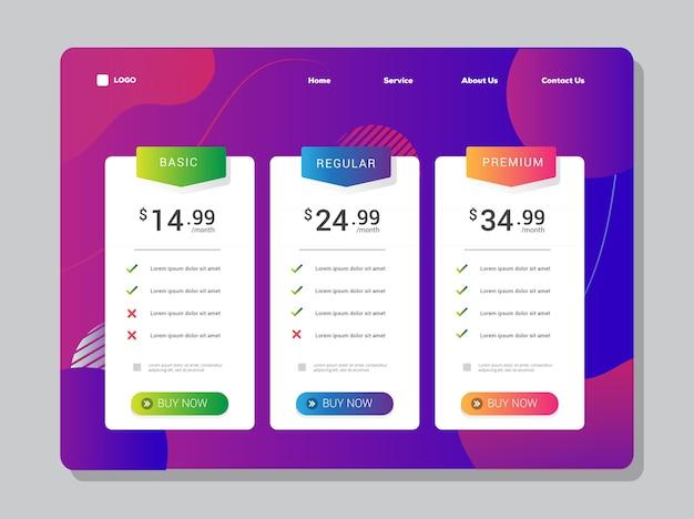 Prijstabel ui-ontwerpverloop en levendig element voor de indeling van de bestemmingspagina of apps Premium Vector