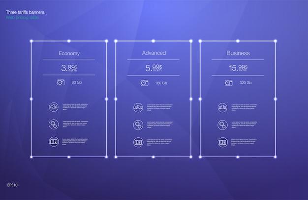 Prijstabel voor hosting, voor de tarieven en prijslijsten. web-elementen. Premium Vector