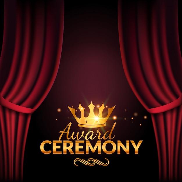 Prijsuitreiking ontwerpsjabloon. award evenement met rode gordijnen. prestaties première ceremonieontwerp Premium Vector