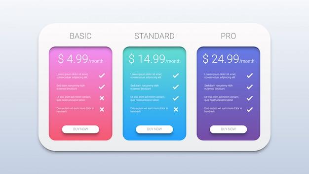 Prijzen tabel sjabloon voor web Premium Vector