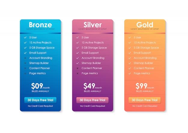 Prijzen tabel sjabloon Premium Vector