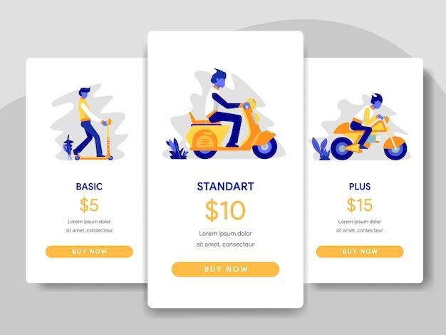 Prijzen tabel vergelijking met scooter, motorfietsen illustratie Premium Vector