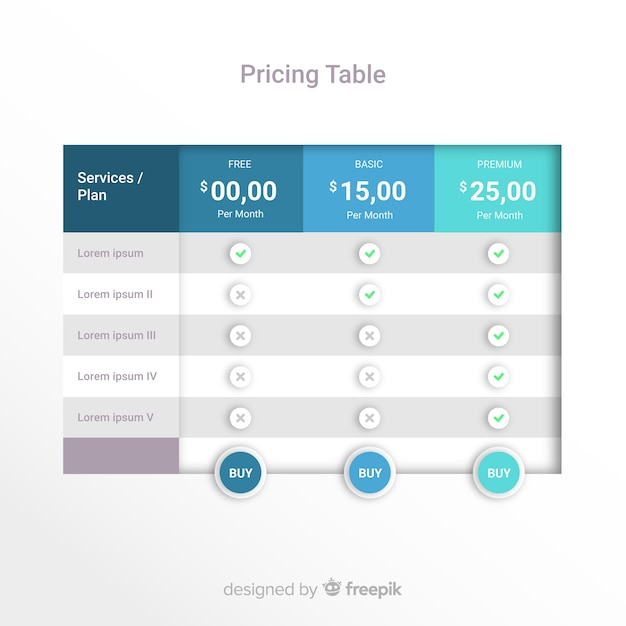 Prijzen tabel Gratis Vector