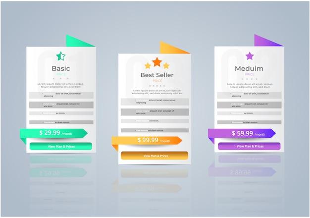 Prijzen van hosts voor planwebsitebanner. Premium Vector