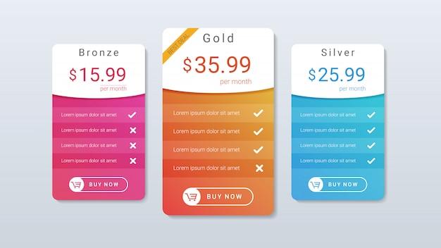 Prijzenlijst met kleurrijke gradiëntkleur Premium Vector