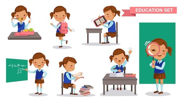 Primaire meisjesset. studentenactiviteit en terug naar school-concept. Premium Vector