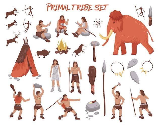 Primal tribe people icons set Gratis Vector