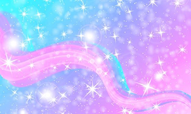 Princess achtergrond. magische sterren. unicorn patroon. fantasie sterrenstelsel. Premium Vector