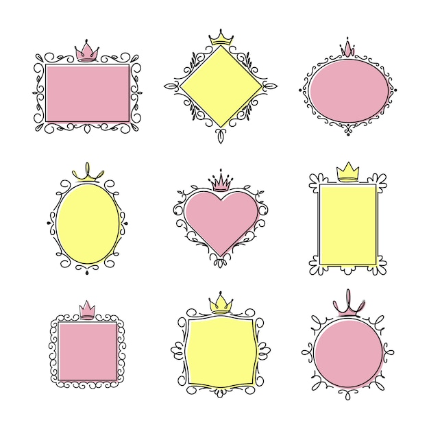 Princess spiegellijsten Gratis Vector