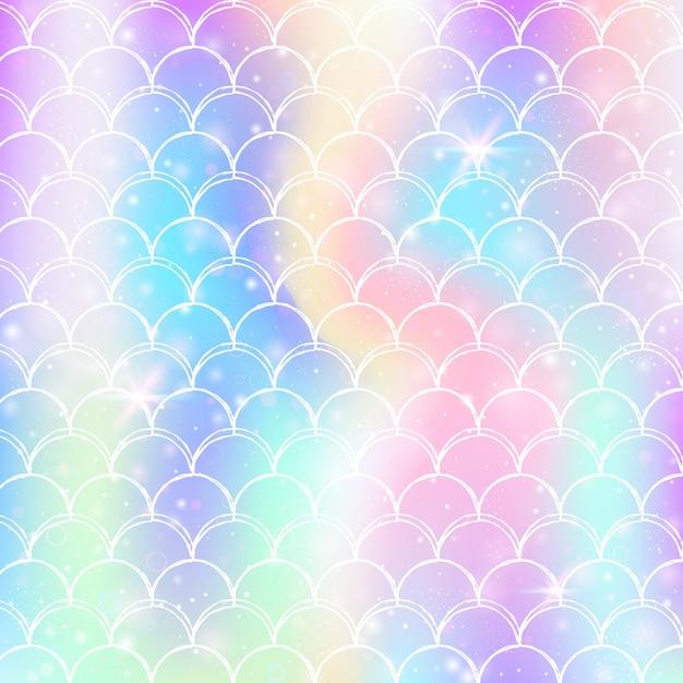 Princess zeemeermin achtergrond met kawaii regenboog schalen patroon. Premium Vector