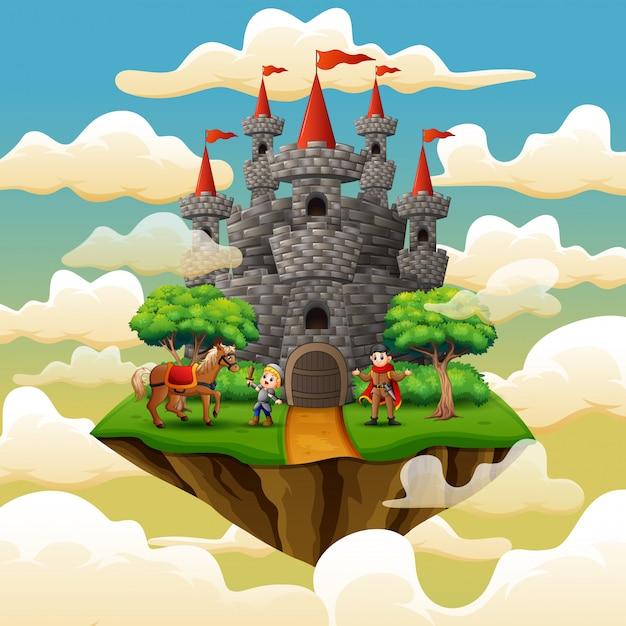 Prins en kleine ridder in een kasteel op de wolk Premium Vector