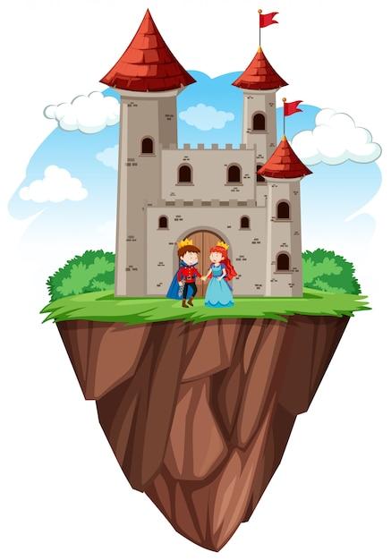 Prins en prinses bij kasteel Gratis Vector