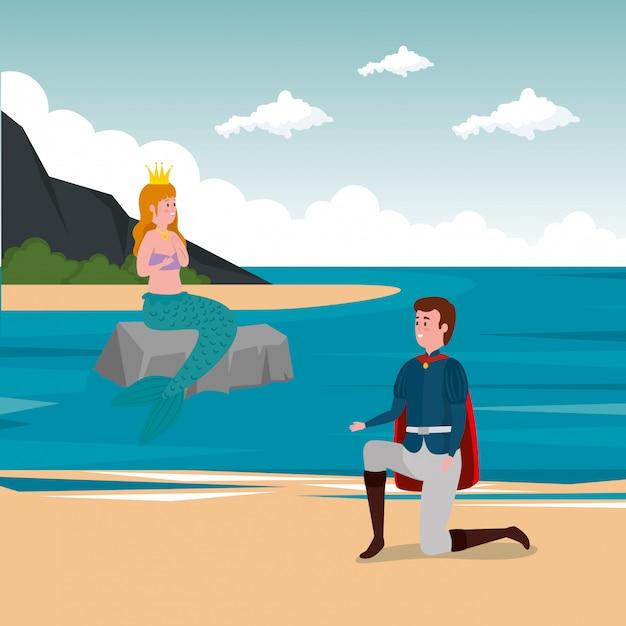Prins met zeemeermin in scène-sprookje Gratis Vector