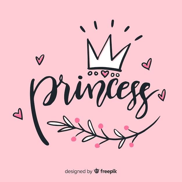 Prinses belettering achtergrond Gratis Vector