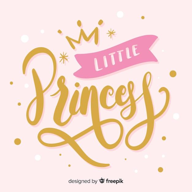 Prinses kalligrafische hand getrokken achtergrond Gratis Vector