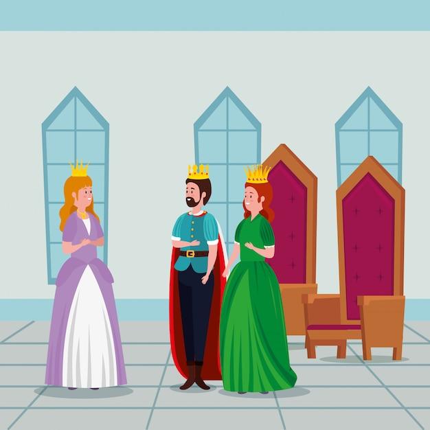 Prinses met koning en koningin in kasteel Gratis Vector