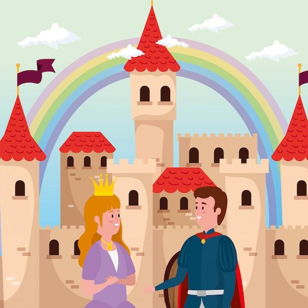 Prinses met prins en kasteel in scène sprookje Gratis Vector