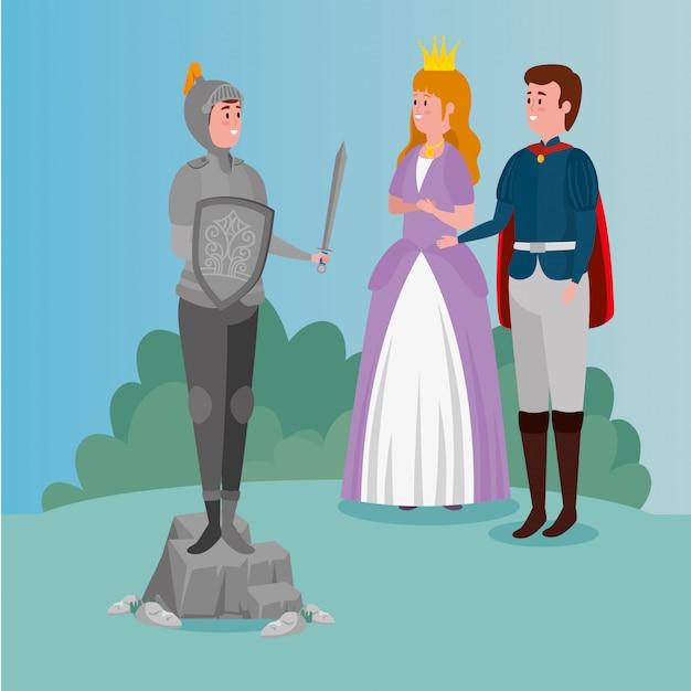 Prinses met prins en ridder met harnas in scène sprookje Gratis Vector