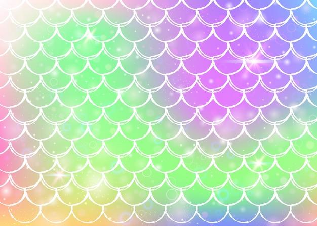 Prinses zeemeermin achtergrond met kawaii regenboog schalen patroon Premium Vector