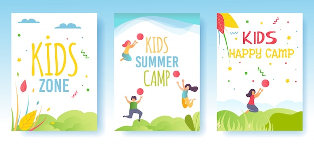 Print flyer, mediakaarten of sociale verhalen set advertising kids camp Premium Vector