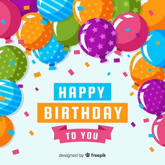 Print kleurrijke ballonnen verjaardag achtergrond Gratis Vector