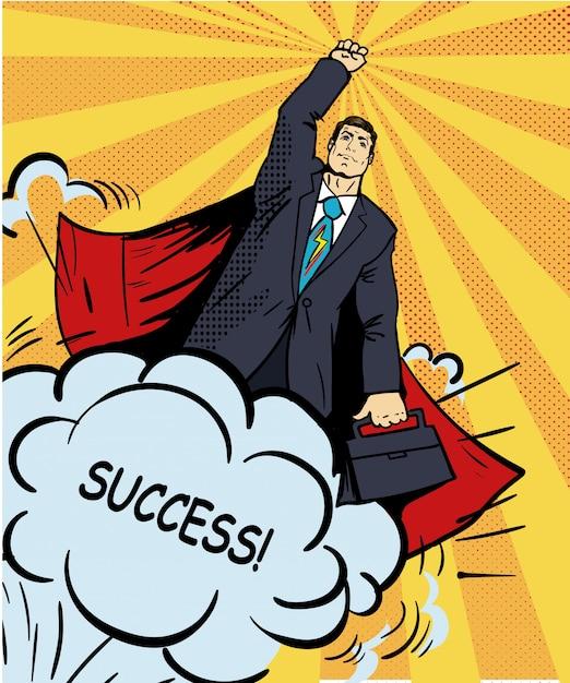 Printbusinessman super held die met aktentas vliegt. illustratie in retro pop-artstijl. zakelijk succes stripverhaal. Premium Vector