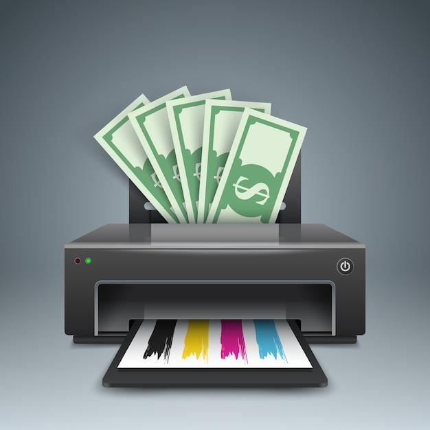 Printer drukt geld, dollars - zakelijke illustraties. Premium Vector