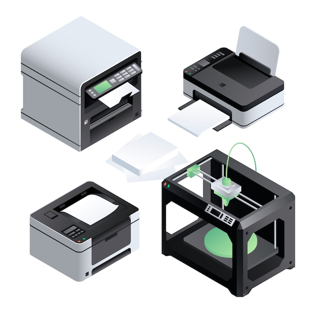 Printer icon set. isometrische set van printer Premium Vector