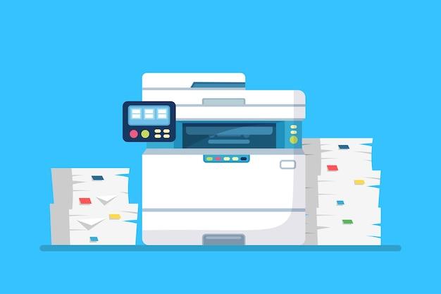 Printer, kantoormachine met papier, documentstapel. scanner, kopieerapparatuur. Premium Vector