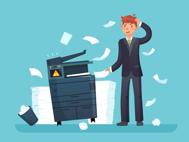 Printer kapot. verward zakelijke werknemer brak kopieerapparaat, kantoor kopieermachine en veel papieren documenten cartoon afbeelding Premium Vector
