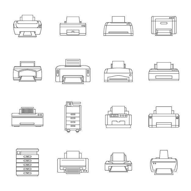 Printer office kopie document pictogrammen instellen Premium Vector