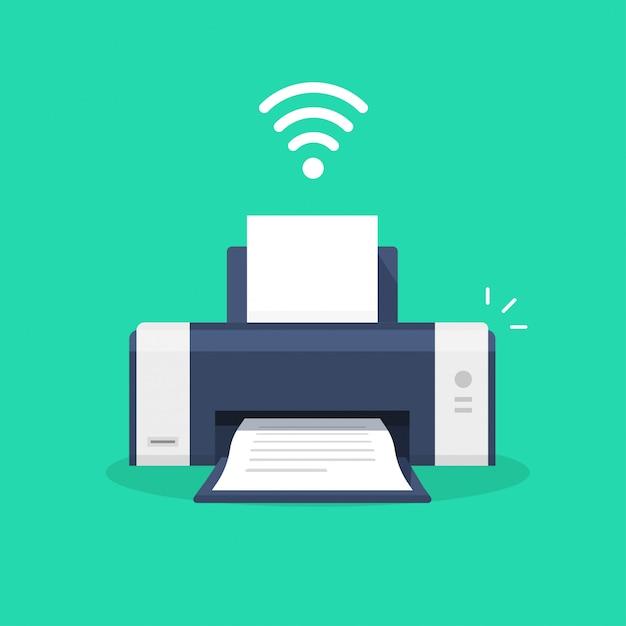 Printerpictogram met wifi draadloos symbool of inkjet-fax wi-fi printtechnologie pictogram platte cartoon illustratie geïsoleerd Premium Vector
