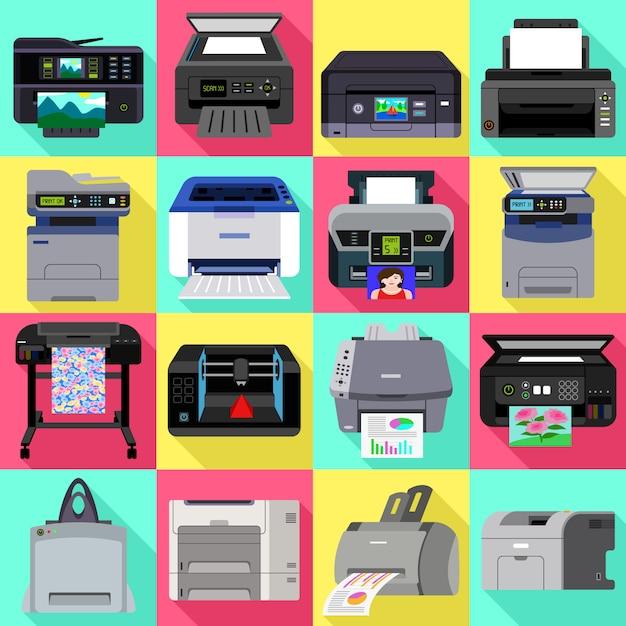 Printerpictogrammen instellen. platte set van printer vector Premium Vector