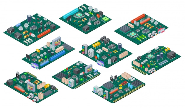 Printplaat isometrisch. elektronische computer componenten moederbord. halfgeleider microchip, diode. hardware vectoronderdelen Premium Vector