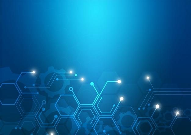 Printplaat technologie achtergrond met hi-tech digitale data-verbindingssysteem en computer elektronisch Premium Vector