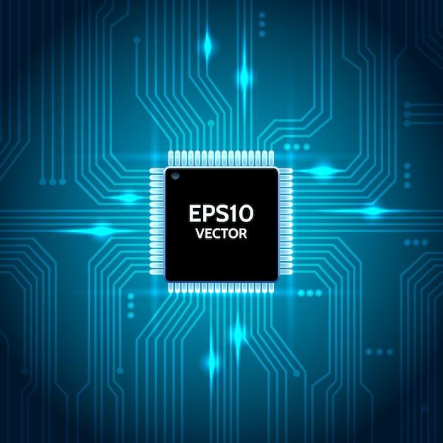 Printplaat vector achtergrond. processor en chip, engineering en technologie, moederbord en computerontwerp Gratis Vector