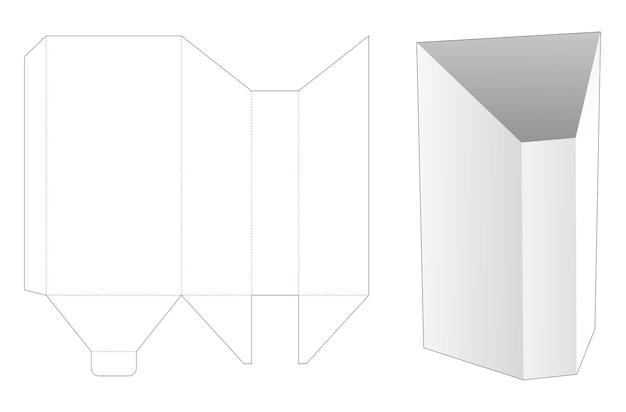 Prismavormige briefpapier doos gestanst sjabloon Premium Vector