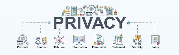 Privacybanner voor persoonlijke en gegevensbescherming, geslacht, relatie, informatie, toestemming, verklaring, beleid, veiligheid en cybersecurity. Premium Vector