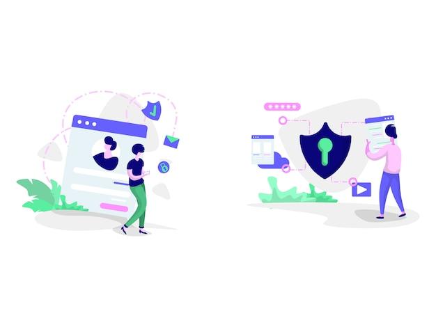 Privacybeleid en cyberveiligheidsillustraties Premium Vector
