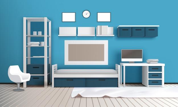 Private room realistisch interieur Gratis Vector