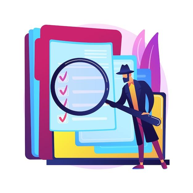 Privé-onderzoek abstracte concept illustratie. prive-detectivebureau, erkende rechercheurs, verhuurbedrijf voor persoonlijk onderzoek, onafhankelijk zoeken. Gratis Vector
