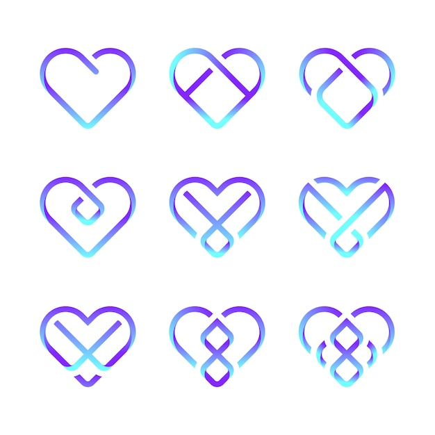 Pro pictogram hart pakket Premium Vector