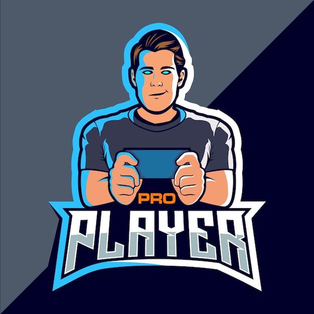 Pro-speler esport game logo-ontwerp Premium Vector