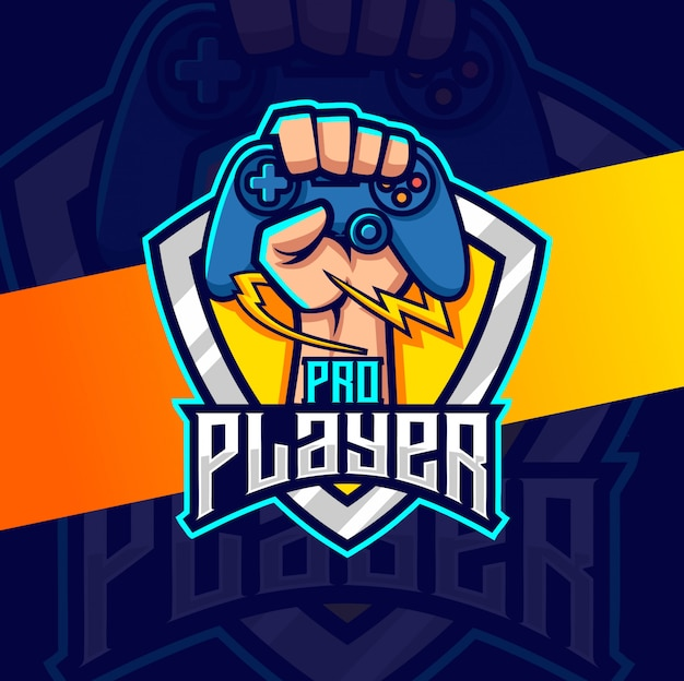 Pro speler esport game-logo Premium Vector